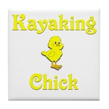 Kayaking Chick Tile Coaster