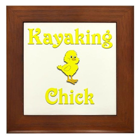 Kayaking Chick Framed Tile