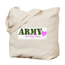 Army Daughter Green & Heart Tote Bag
