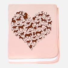Horses & Ponies Heart baby blanket