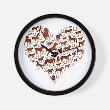 Horses & Ponies Heart Wall Clock
