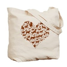 Horses & Ponies Heart Tote Bag