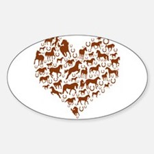 Horses & Ponies Heart Sticker (Oval)