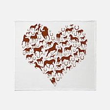 Horses & Ponies Heart Throw Blanket