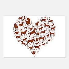 Horses & Ponies Heart Postcards (Package of 8)