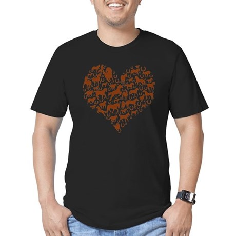 Horses & Ponies Heart Men's Fitted T-Shirt (dark)