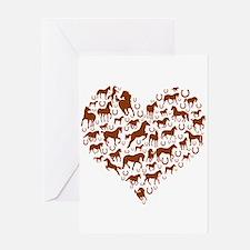 Horses & Ponies Heart Greeting Card