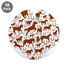 """Horses & Ponies Heart 3.5"""" Button (10 pack)"""