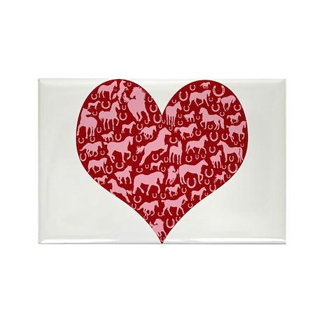 Horsey Heart Rectangle Magnet (100 pack)