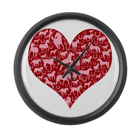 Horsey Heart Large Wall Clock