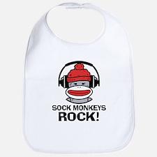 Sock Monkeys Rock Bib