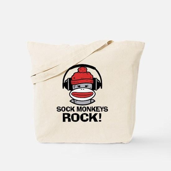 Sock Monkeys Rock Tote Bag