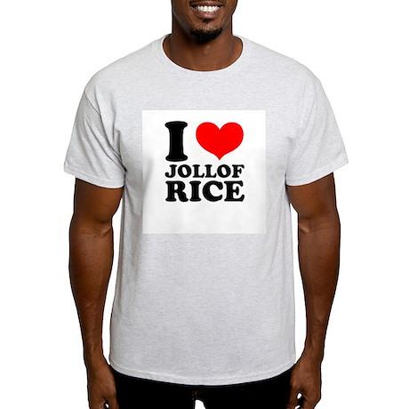 I Love Jollof Rice Ash Grey T-Shirt