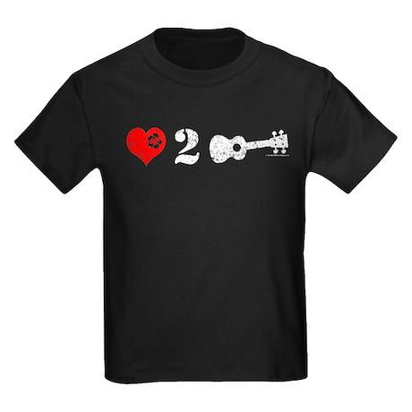 Love 2 Ukulele On Dark Kids Dark T-Shirt