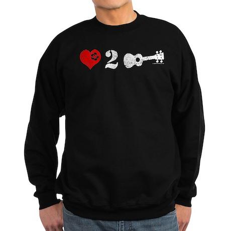 Love 2 Ukulele On Dark Sweatshirt (dark)