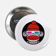 """Sock Monkeys with 3D Glasses 2.25"""" Button"""