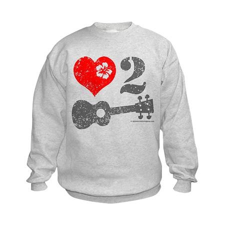 Love 2 Ukulele Light Kids Sweatshirt
