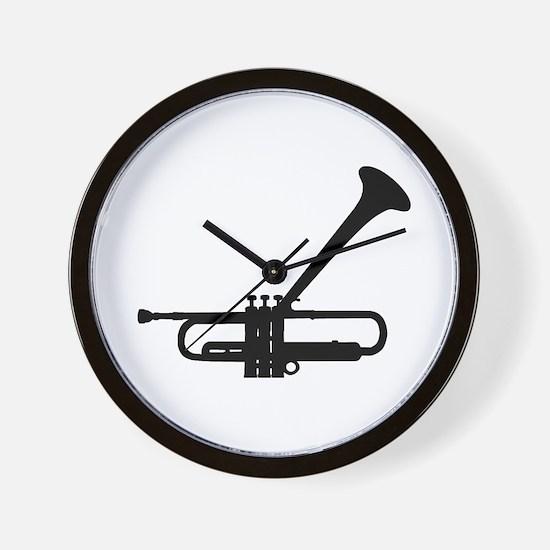 Dizzy's Horn Dark Silhouette Wall Clock