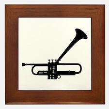 Dizzy's Horn Dark Silhouette Framed Tile
