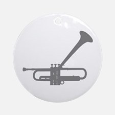 Dizzy's Horn Silver Silhouett Ornament (Round)