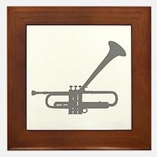 Dizzy's Horn Silver Silhouett Framed Tile