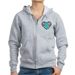 Heart Ovarian Cancer Women's Zip Hoodie