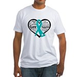 Heart Ovarian Cancer Fitted T-Shirt