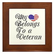 My Heart Belongs To A Veteran Framed Tile