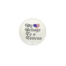 My Heart Belongs To A Veteran Mini Button (10 pack