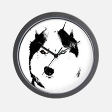 Siberian Husky Sled Dog Wall Clock