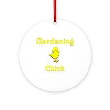 Gardening Chick Ornament (Round)