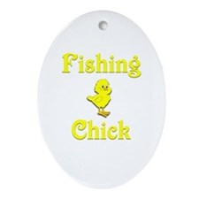Fishing Chick Ornament (Oval)