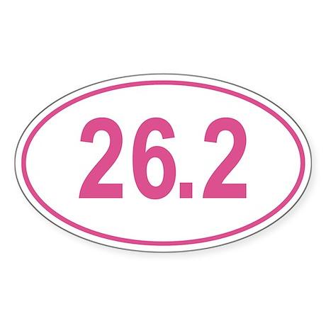 Pink 26.2 Marathon Oval Sticker (Oval)