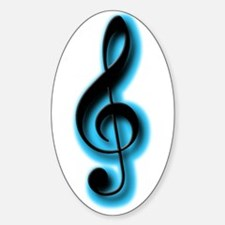 Glowing Treble Clefs Oval Decal