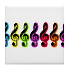Glowing Treble Clefs Tile Coaster