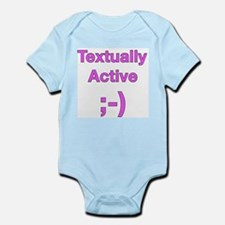 Textually Active Pink Infant Bodysuit