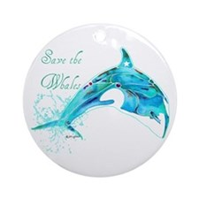 Save the Whales Teal Ornament (Round)