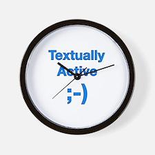 Textually Active Blue Wall Clock