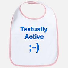 Textually Active Blue Bib