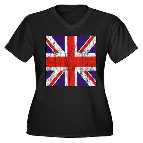 Distressed British Flag Women's Plus Size V-Neck D