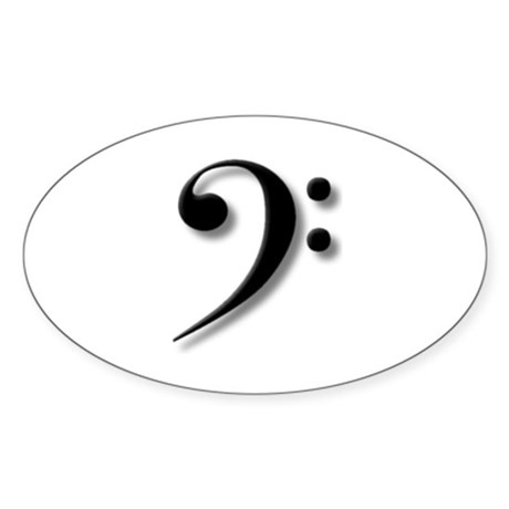 The Impressive Bass Clef Oval Sticker