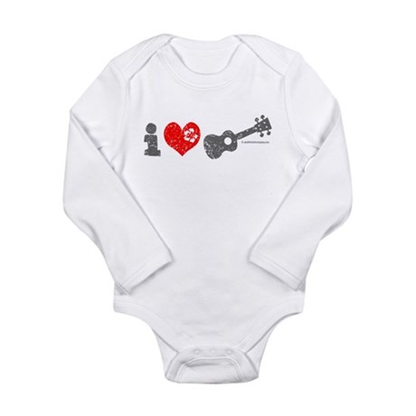 I Love Ukulele Long Sleeve Infant Bodysuit