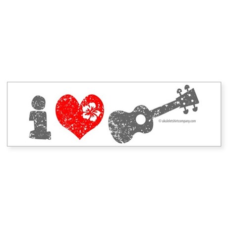 I Love Ukulele Sticker (Bumper)