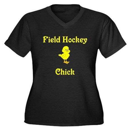 Field Hockey Chick Women's Plus Size V-Neck Dark T
