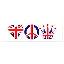 Heart, Peace, Crown - Britiain! Bumper Sticker