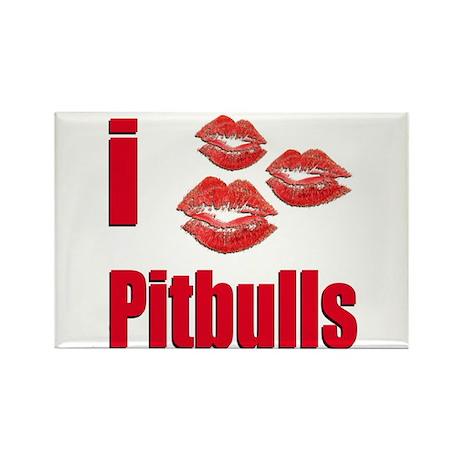 I Love Pitbulls Rectangle Magnet (10 pack)