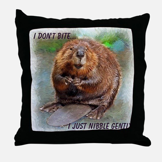 Nibble Gently Beaver Throw Pillow