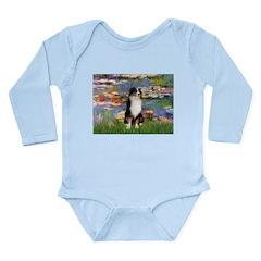 Lilies2-Tri Aussie Shep2 Long Sleeve Infant Bodysu
