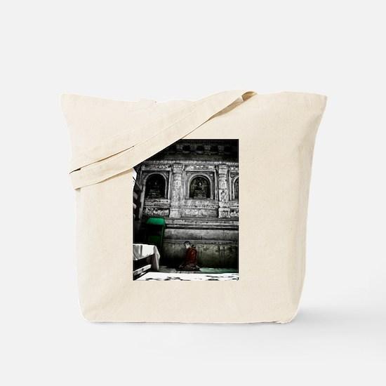 Monk Meditates in Bodhgaya Tote Bag