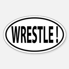 Wrestle Oval decal Sticker (Oval)